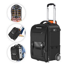 Neewer 2-in-1 Rolling Camera Backpack Trolley Case for Tripo