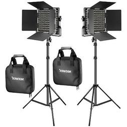 Neewer 2-pack Bi-color 660 LED Video Light and Light Stand K