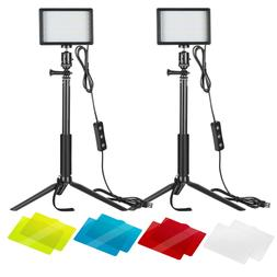 Neewer 2 Pack Dimmable 5600K USB LED Video Light with Tripod