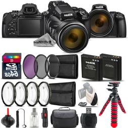 Nikon COOLPIX P1000 Digital Camera + Spider Tripod + EXT BAT