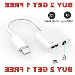 Dual Adapter for iPhone Charger & Headphone 3.5mm Jack for i