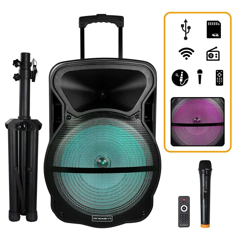 15 portable bluetooth pa dj speaker lights