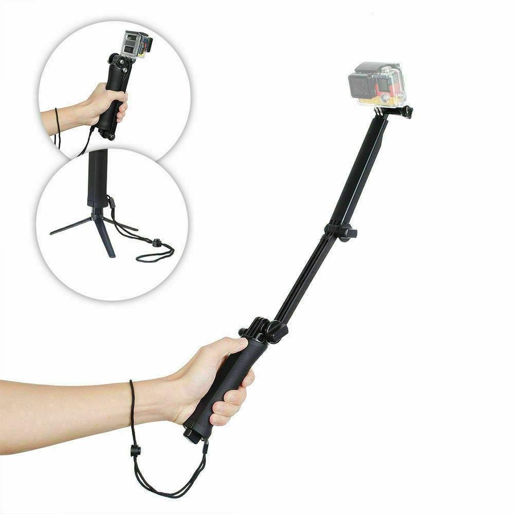 3 in1 Selfie Tripod/Monopod Selfie Stick for GoPro Hero 7 Bl