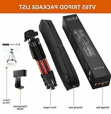 65-inch Aluminum Tripod Camera, Compact Phone Tripod Loads