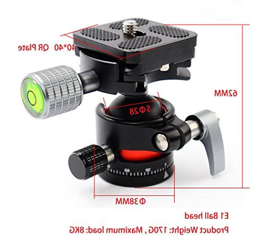 koolehaoda Head mini Ballhead with Quick Release For Camera Tripod, only 170G,Maximum load: 8KG
