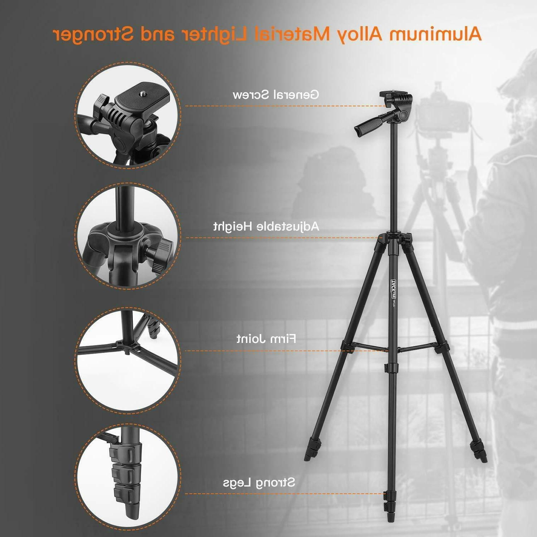 Lightweight Tripod 55-Inch, Aluminum Travel/Camera/Phone with Bag,