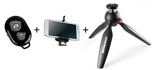 Manfrotto Mini Tripod Kit Bluetooth Shutter Remote Control Smartphones a Tripod Mount