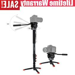 Monopod with Tripod Base Fluid Head for Camera DSLR Mount St