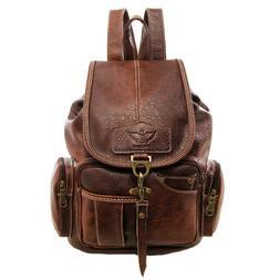 Vintage Womens Leather Backpack Shoulder School Shoulder Sat