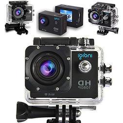 Indigi NEW 4K HD Action Sports Camera - Waterproof Case - Mo